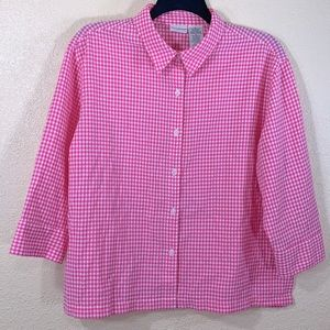 White Stag Top Blouse XL Pink White Gingham